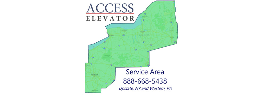 Access Elevator service area map in New York, Pennsylvania, and West Virginia